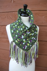 Cascading Colors Crochet Cowl with Fringe