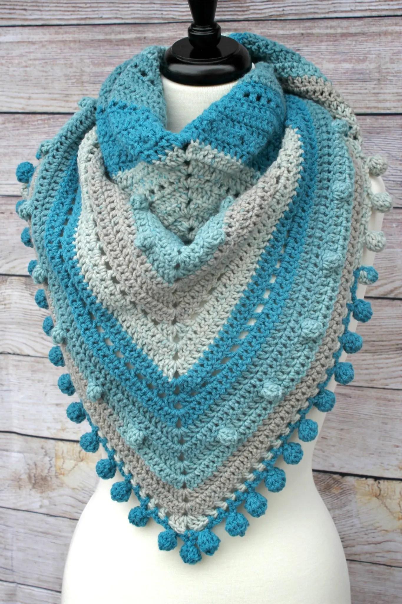 Misty Morning Triangle Scarf Shawlette Crochet Pattern Caron Big Cakes
