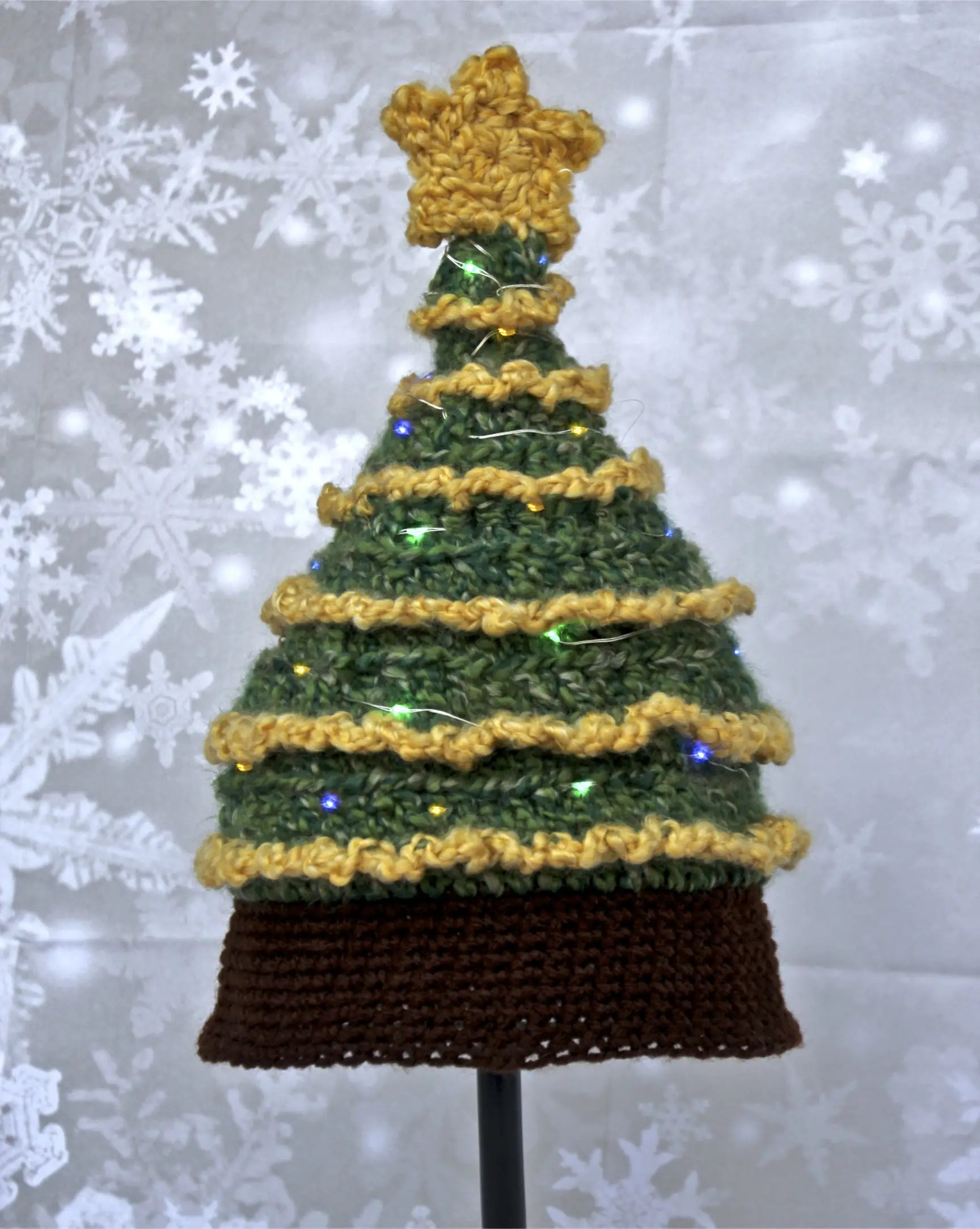 Light Me Up Christmas Tree Hat Free Crochet Pattern