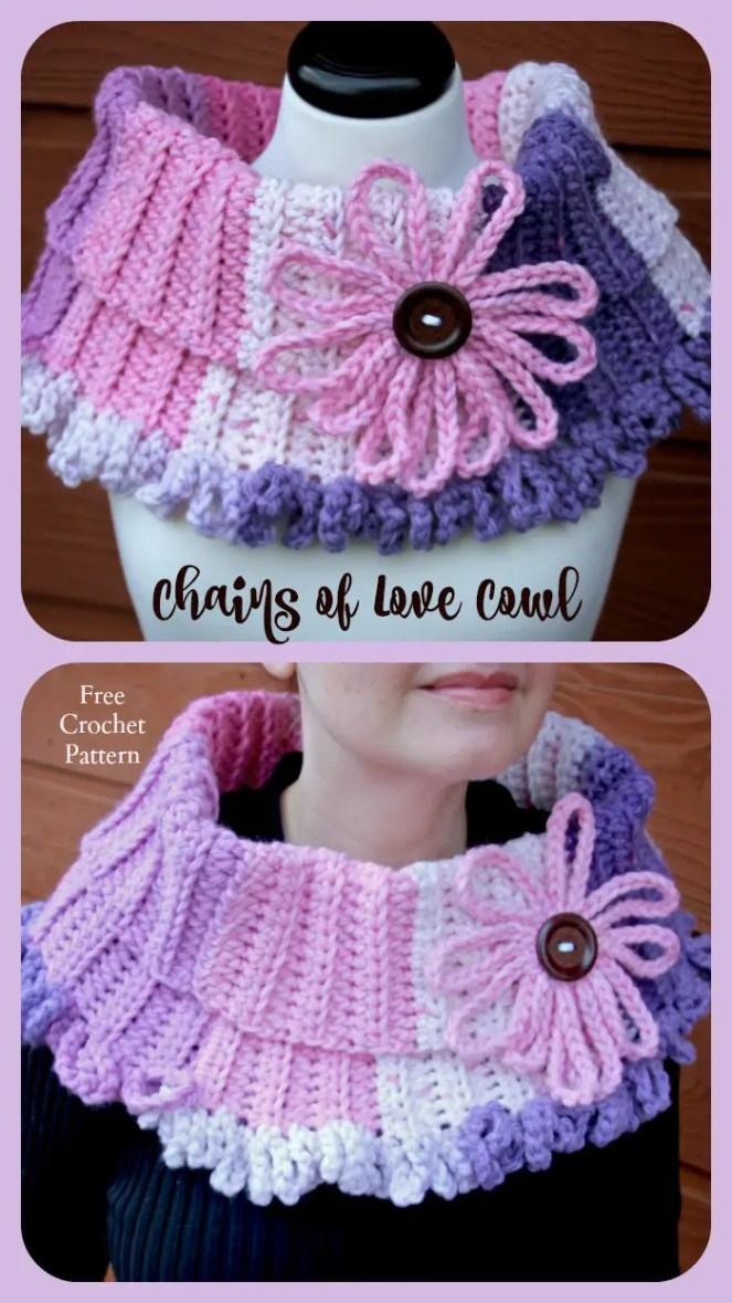 Chains Of Love Cowl Free Crochet Pattern Featuring Caron