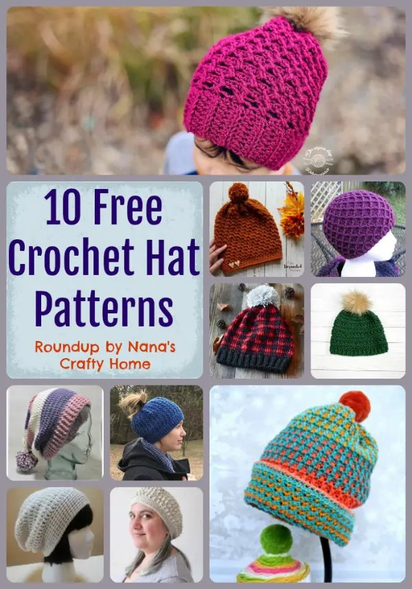 10 Free Crochet Hat Pattern Roundup