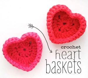 Crochet Heart Baskets by My Poppet Makes