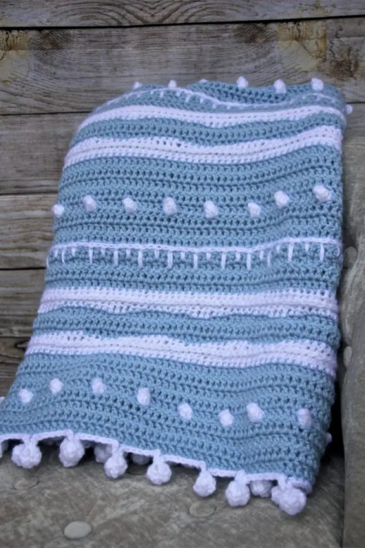 Winter Rhapsody Free Crochet Lap Blanket Stitch Sampler Pattern