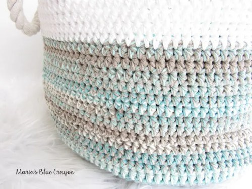 Caron Cotton Cakes Crochet Basket Pattern part of a Pattern Roundup by Nana's Crafty Home