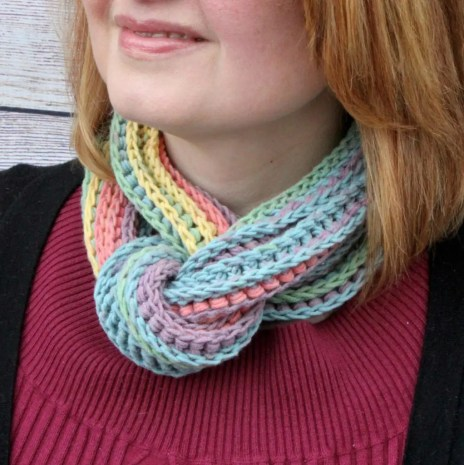 Coiling Colors Cowl featuring Caron Cotton Cakes