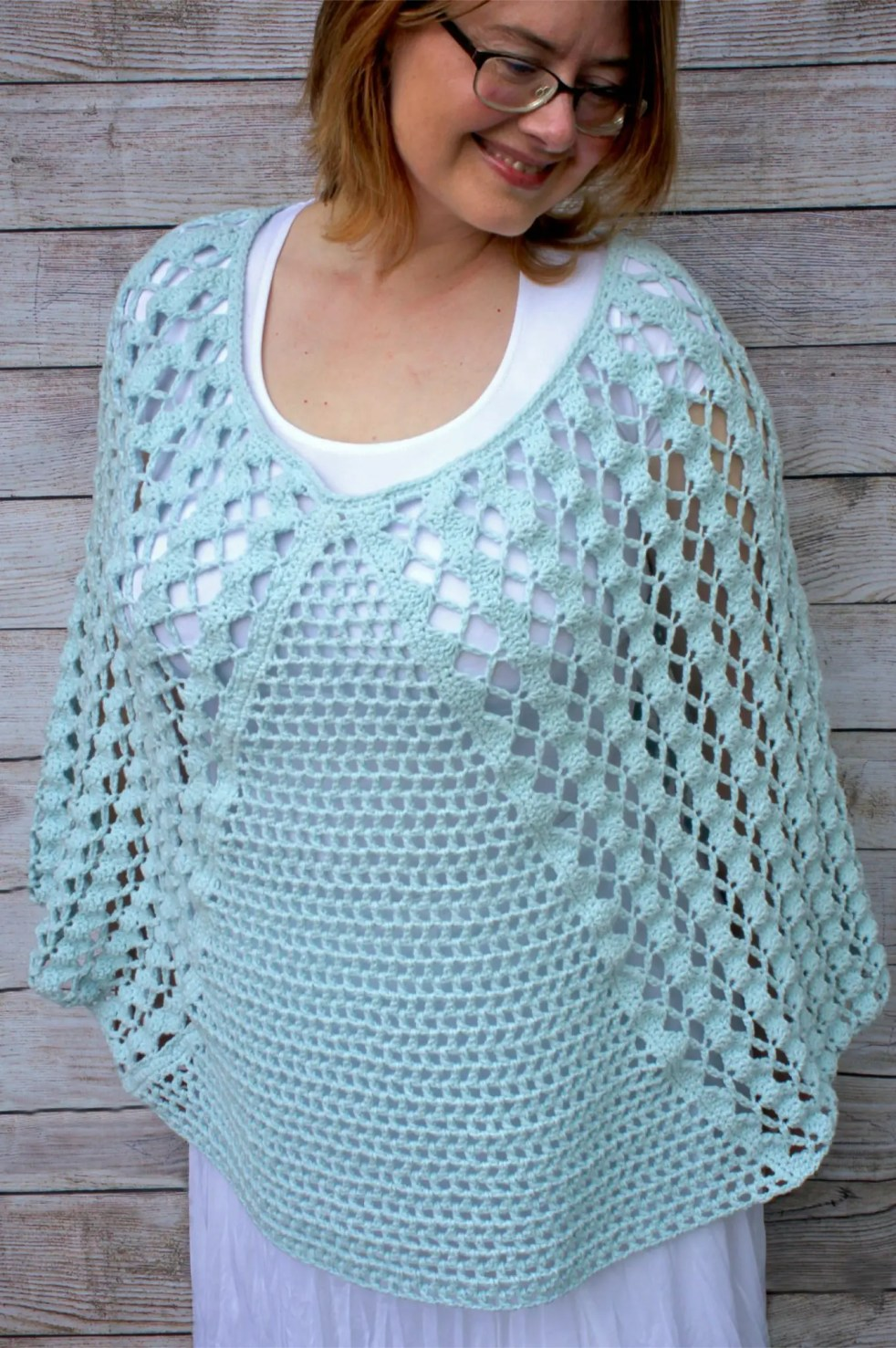 Whimsical Waves Crochet Poncho featuring Lion Brand's Feels Like Butta Yarn