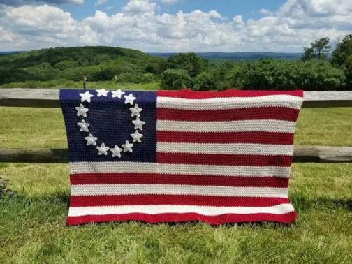 Old Glory American Flag Afghan crochet pattern