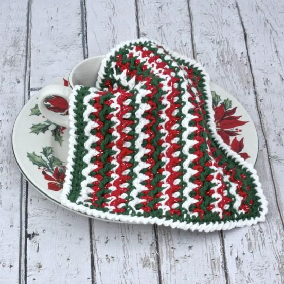 Any Holiday Textured Dishcloth free crochet pattern Christmas video tutorial