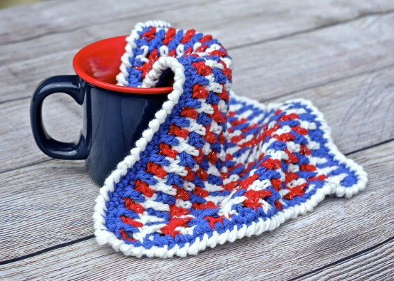 Any Holiday Textured Crochet Dishcloth Free Pattern With Cotton Yarn