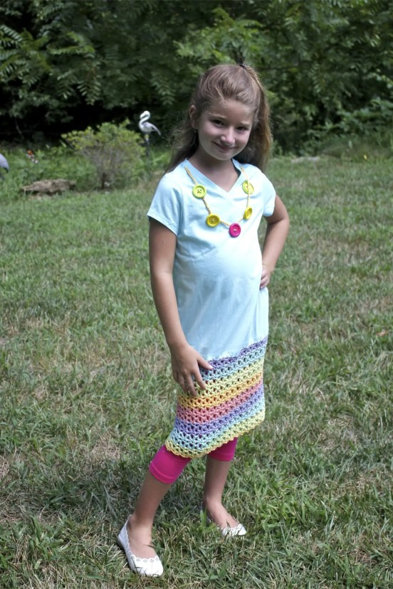 Pretty Play Date Dress Free Crochet Pattern With Caron Cotton Cakes