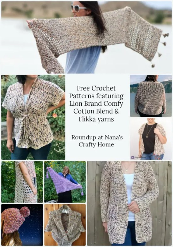 Free Crochet Patterns featuring Lion Brand Comfy Cotton Blend and Flikka yarns