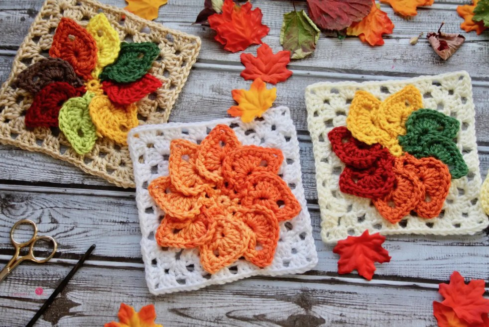Leaves Granny Square free crochet pattern