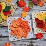 Granny Leaves Square Free Crochet Pattern by Kristyn Crochets!