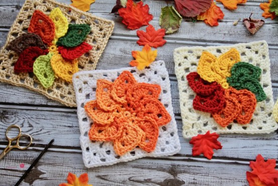 Granny Leaves Square Free Crochet Pattern By Kristyn Crochets