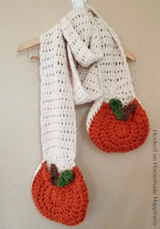 Super Scarf with Pumpkin Pockets a free crochet pattern by Hooked on Homemade Happiness