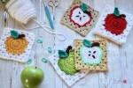 Apple Granny Square Free Crochet Pattern by Kristyn Crochets