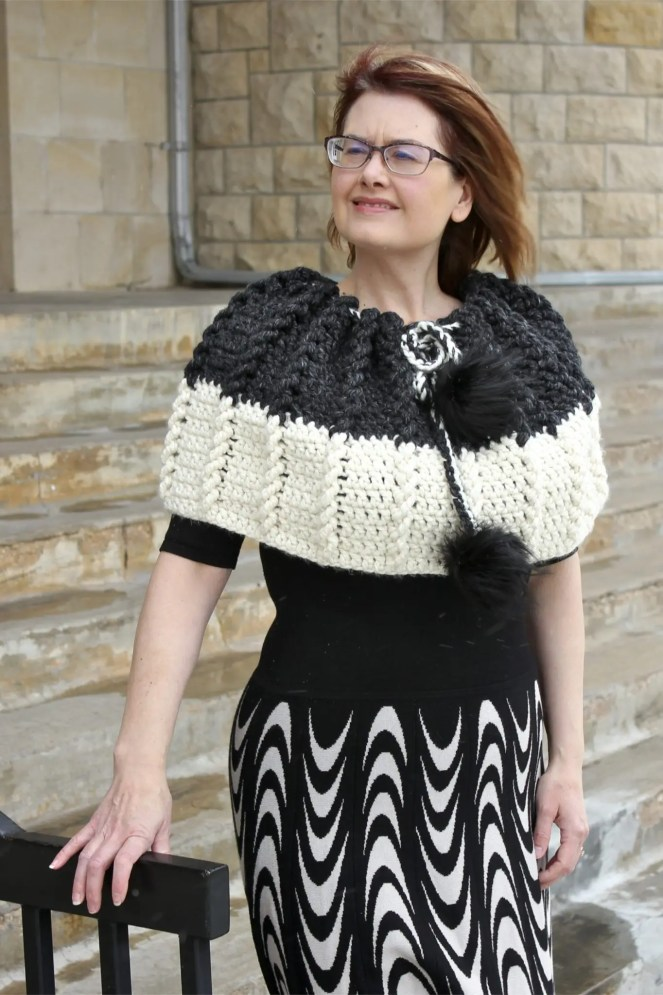 Bewitching Braids Cape a free crochet pattern video tutorial.  An easy and elegant cape perfect for an evening on the town!