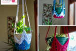 Never Ending Star Crochet Plant Hanger a free pattern by Kristyn Crochets!