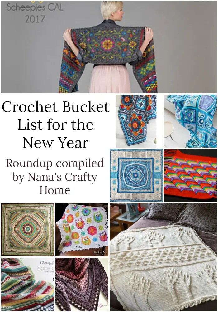 Crochet Bucket List Pattern Roundup compiled by Nana's Crafty Home
