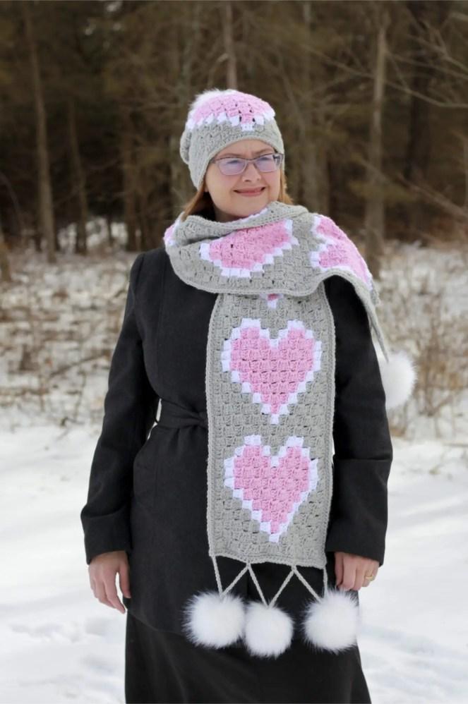Heart C2C Scarf & Hat free crochet pattern