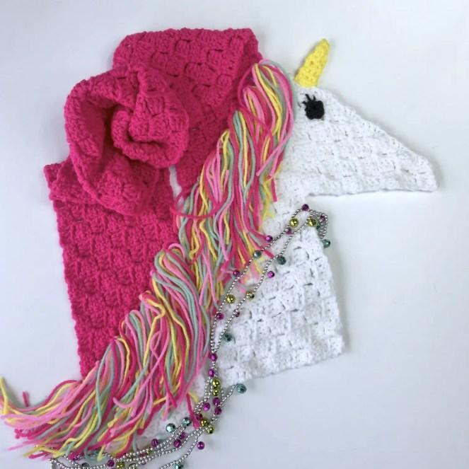 Unicorn Scarf Free Crochet Pattern in Corner to Corner C2C