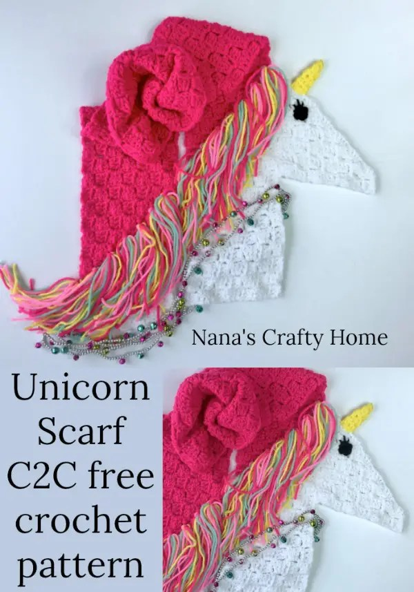 Unicorn Scarf Free Crochet Pattern In Corner To Corner C2c
