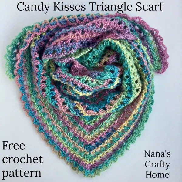 Candy Kisses Triangle Scarf Free Crochet Pattern