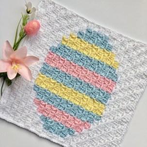 Easter Basket C2C Square Easter Blanket Graphgan Crochet a Long Free Pattern Part 3