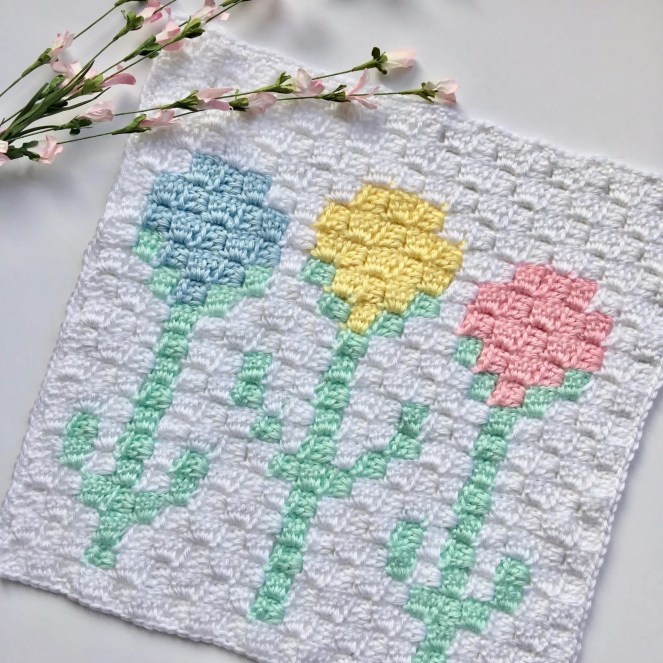 Tulips C2C Square Easter Blanket Graphgan CAL Part 9