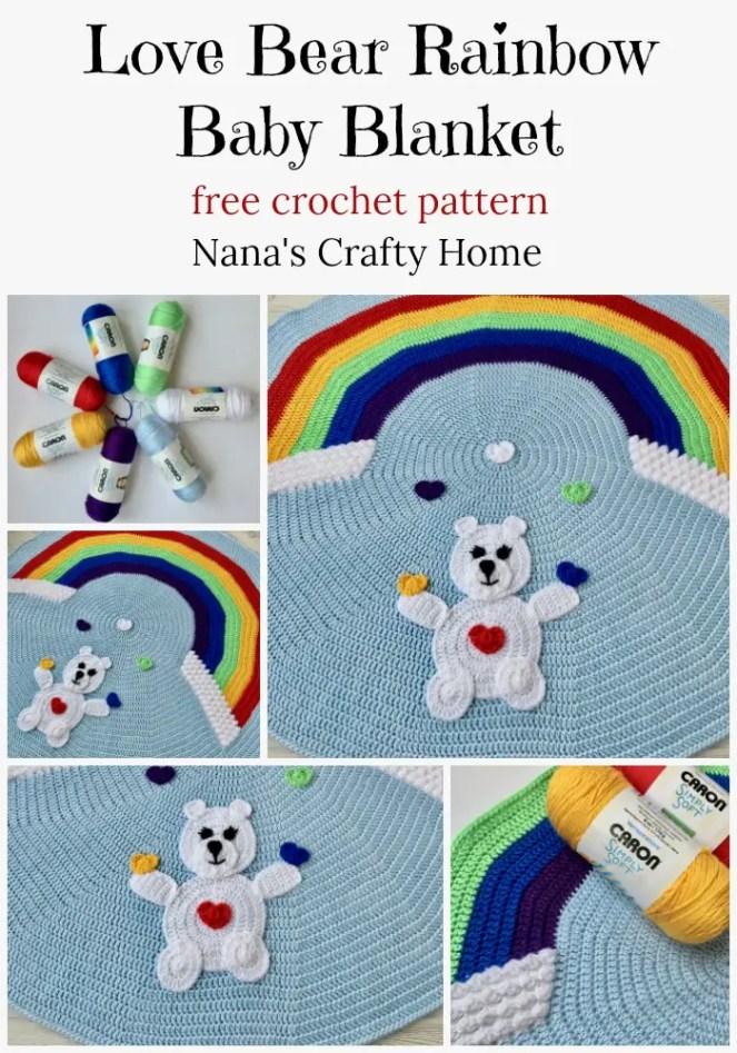 Love Bear Rainbow Baby Blanket free crochet pattern