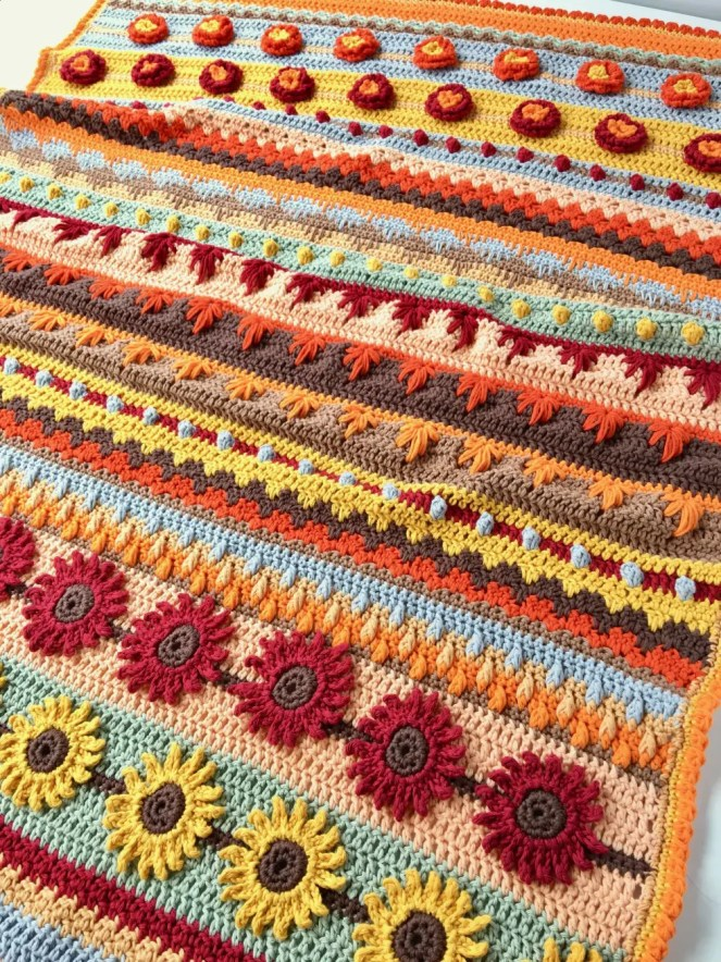Stitch Sampler Crochet Blanket Autumn Rhapsody CAL Free Pattern!