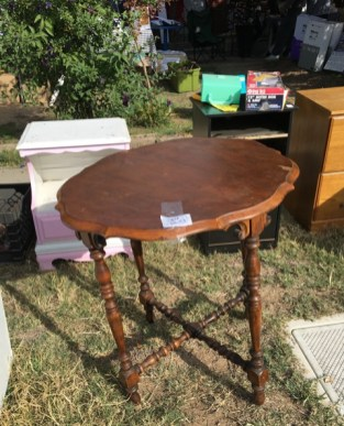 table at yard sale