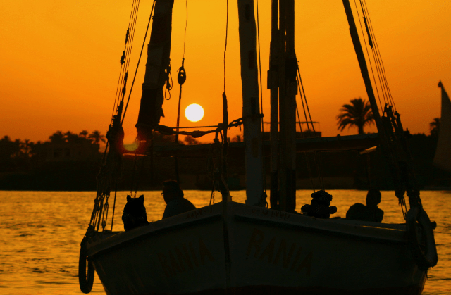 a sunset boat