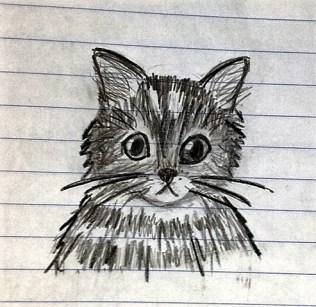 cat on binder paper