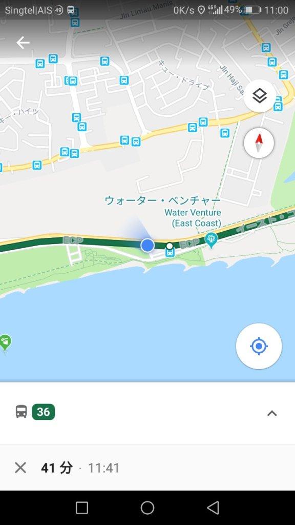 グーグルマップバス移動表示2