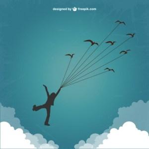 鳥と飛ぶ少年