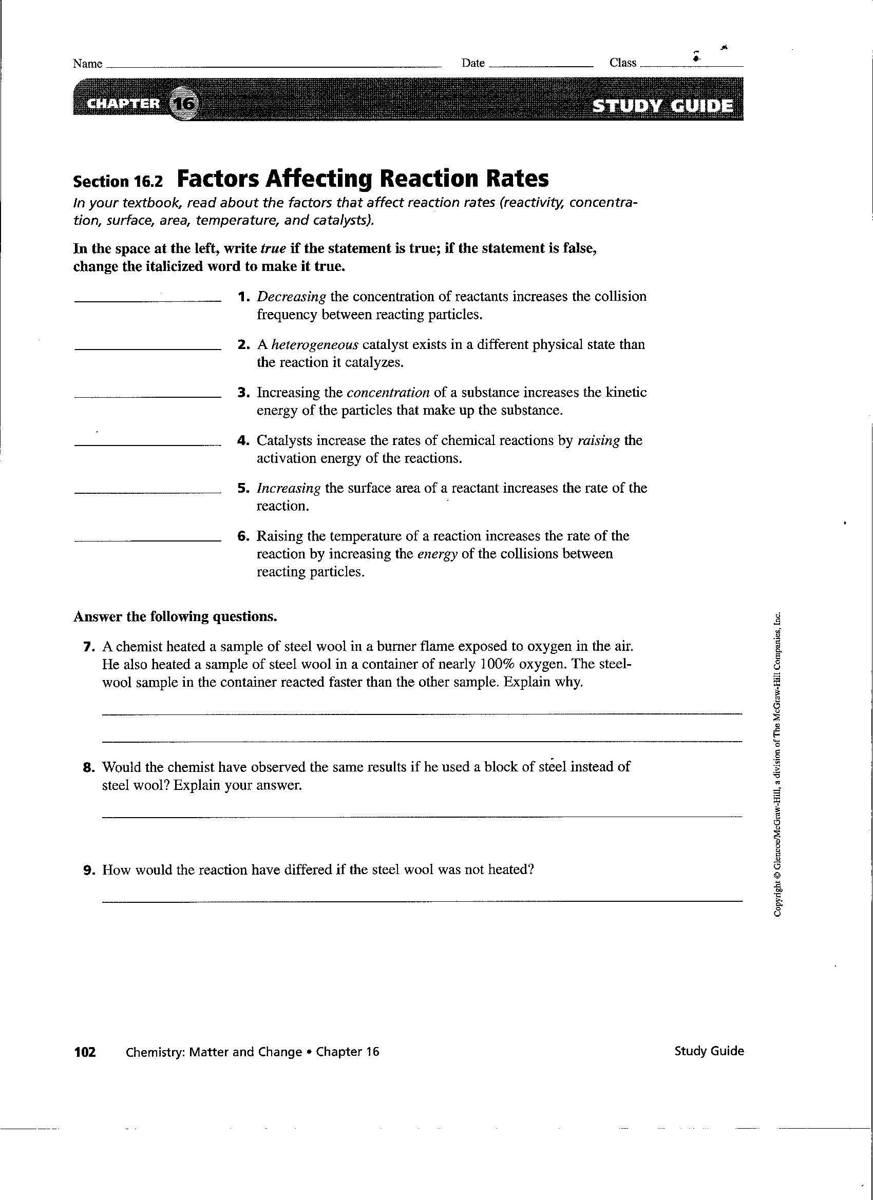 Reaction Rates Worksheet Answers