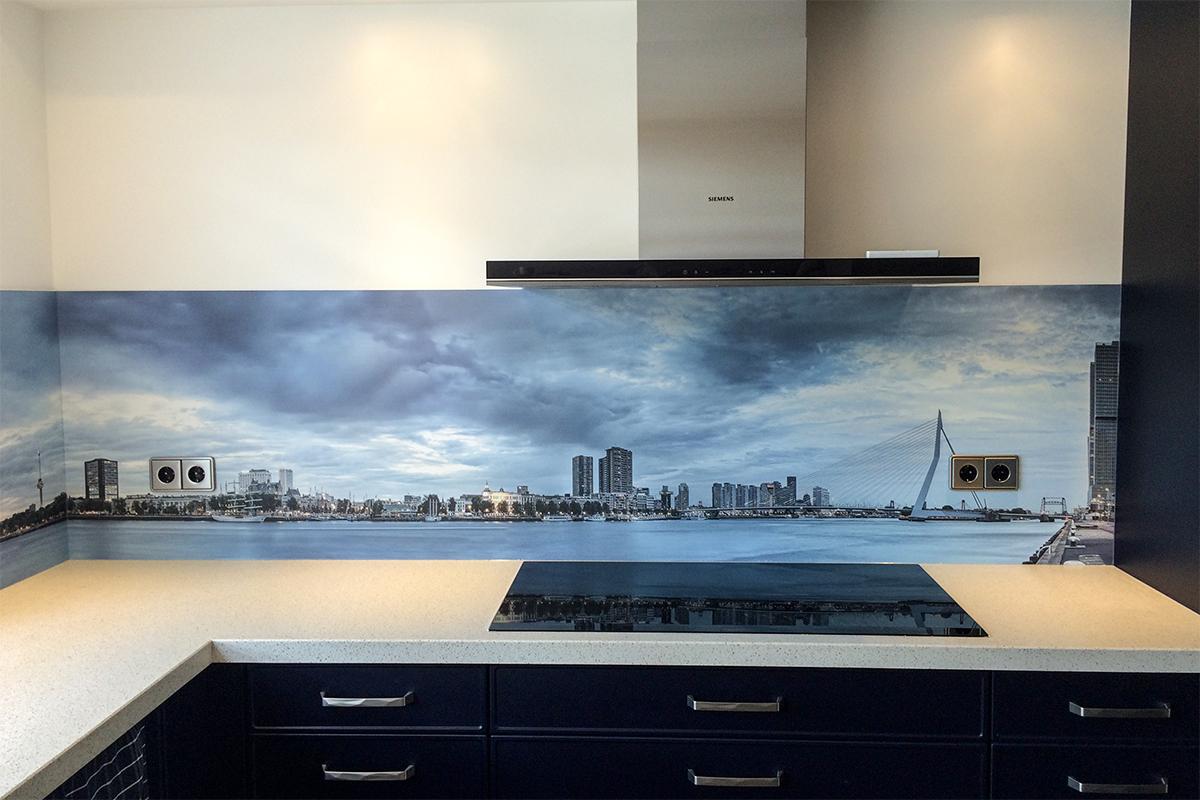 Skyline, Rotterdam, achterwand keuken, keukenboer, persoonlijke keuken