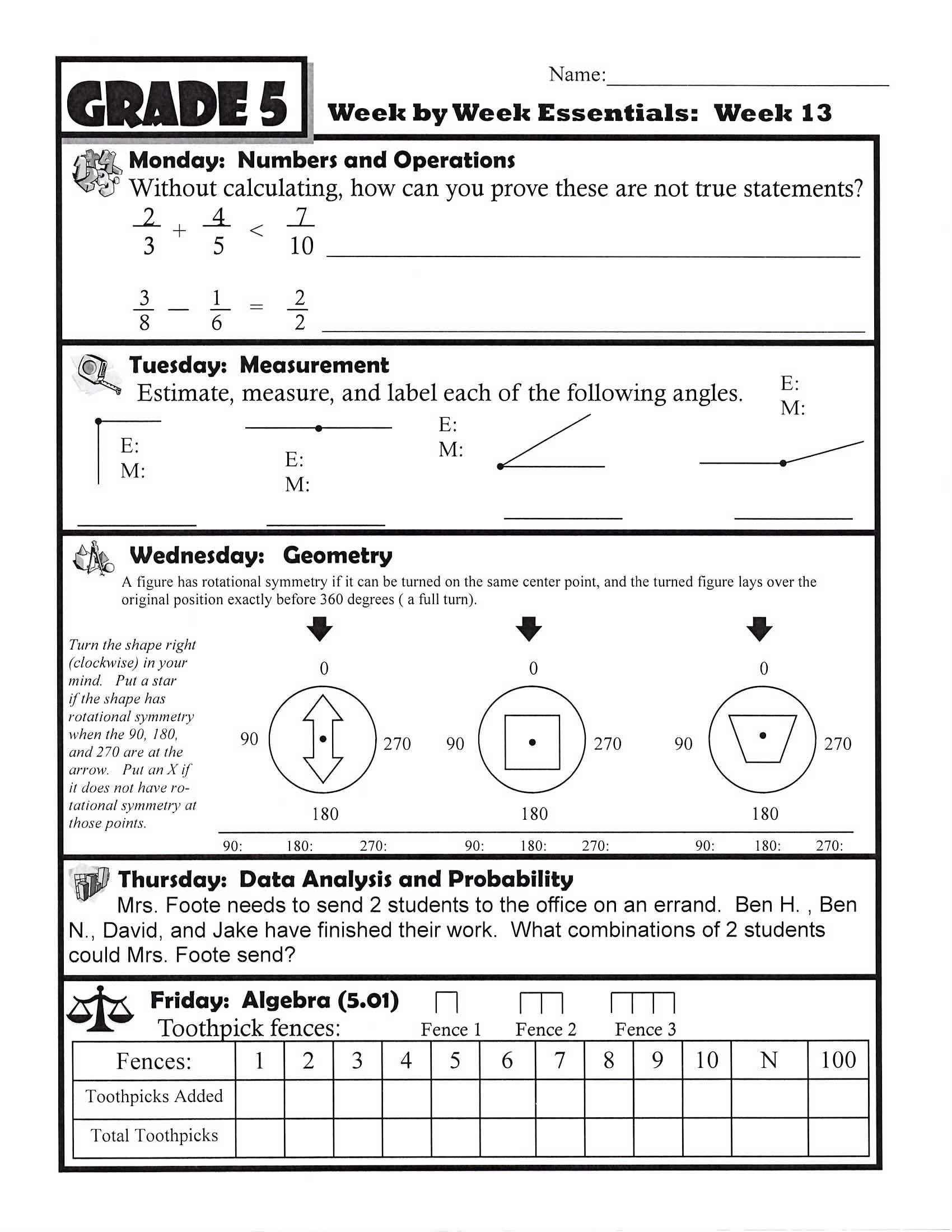 Week 13 Grade 5 Page 1
