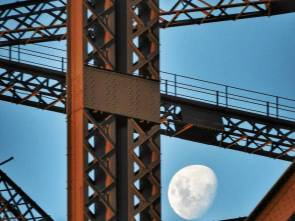 Seeing the rising moon as we pass underneath The Coathanger.