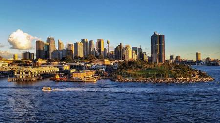 Cruising out of Sydney Harbour and past the city.