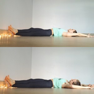 Release the crossed leg position and stretch the legs forward and arms overhead. Walk the left heel to the left corner of the mat and take the right ankle and cross it over the left. Begin to walk the shoulderblades to the left as well (keep hips grounded in center) and rest in this nice side body stretch.