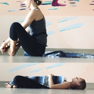 Make your way upright. Stretch the feet and legs for a moment and when you are ready find a comfortable savasana position to rest into. I chose reclined butterfly supported by a strap and with the blanket resting on my torso. Get creative and enjoy a few moments of stillness! You deserve it :)