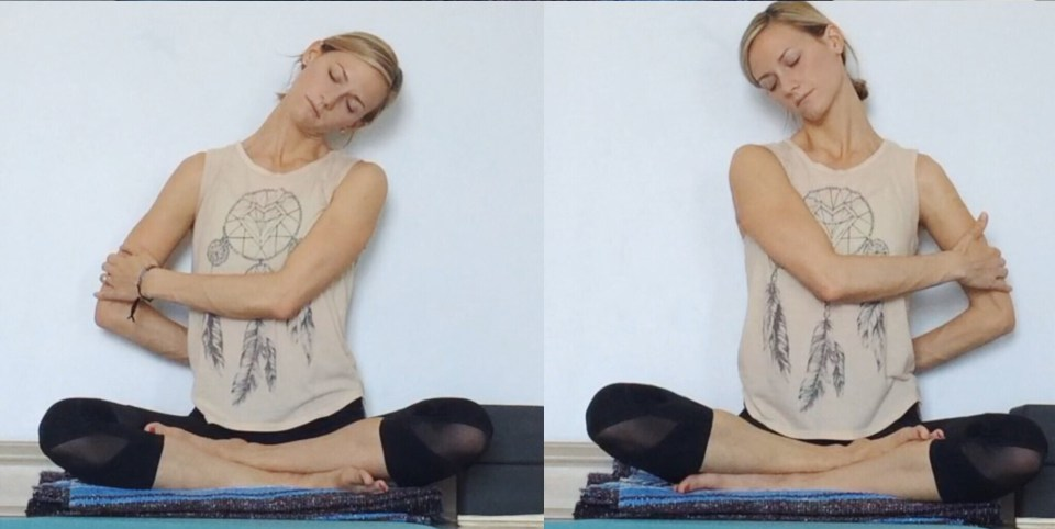 Yin Yoga at the Wall - Tricep Pull Neck Stretch
