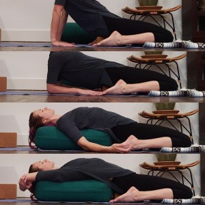 reclining while hips are supported by a block