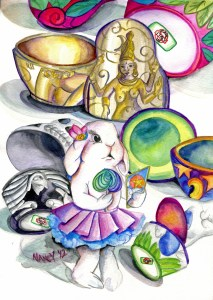 Manic Pixie Dream Bunny, watercolor on paper, 2012.