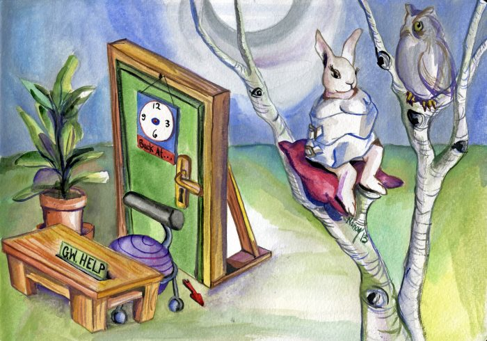 Scheduled Insanity, watercolor on paper by Nancy Polo, 2013.