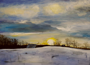 Dusk winter, sunset with snow on a hill and a house in the distance