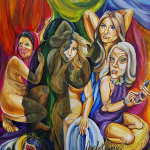 Spoof on Picasso's Painting from 1905 with Melania Trump, Nikki Haley, Ivanka Trump, Kellyanne Conway and Trump.