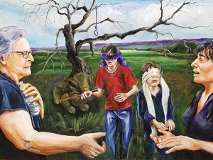 Two women on the left and right reach across to touch each other's hand while two, blindfolded boys wander toward them. A tree with a hand for roots pushes a syringe into one boy.